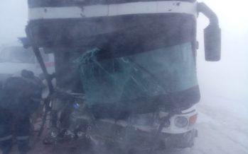 Қарағанды тас жолында 45 жолаушы мінген автобус аударылды